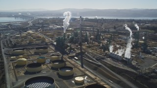 DFKSF08_048 - 5K stock footage aerial video of passing by the Valero Oil Refinery, Benicia, California