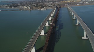 DFKSF08_056 - 5K stock footage aerial video of flying by the Benicia-Martinez Bridge, Carquinez Strait, California