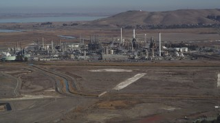 DFKSF08_063 - 5K stock footage aerial video of flying by the Tesoro Golden Eagle Refinery, Pacheco, California