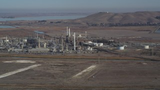 DFKSF08_064 - 5K stock footage aerial video of passing by the Tesoro Golden Eagle Refinery, Pacheco, California