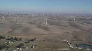 DFKSF08_071 - 5K stock footage aerial video of approaching windmills at Shiloh Wind Power Plant, Montezuma Hills, California