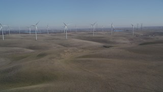 DFKSF08_073 - 5K stock footage aerial video of approaching the windmills at Shiloh Wind Power Plant, Montezuma Hills, California