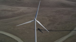 DFKSF08_074 - 5K stock footage aerial video approach and flyby a windmill at Shiloh Wind Power Plant, Montezuma Hills, California