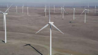 DFKSF08_078 - 5K stock footage aerial video of flying close to a windmill at Shiloh Wind Power Plant, Montezuma Hills, California