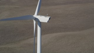 DFKSF08_083 - 5K stock footage aerial video of flying by windmills at Shiloh Wind Power Plant, Montezuma Hills, California