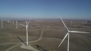 DFKSF08_095 - 5K stock footage aerial video passing windmills at Shiloh Wind Power Plant, Montezuma Hills, California
