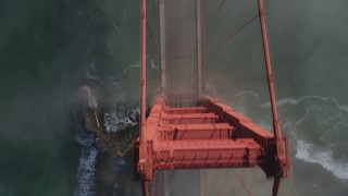 DFKSF09_028 - 5K stock footage aerial video of bird's eye view of light traffic on the Golden Gate Bridge, San Francisco, California