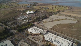 DFKSF11_012 - 5K stock footage aerial video of flying by Shoreline Amphitheater and golf course, Mountain View, California
