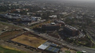 DFKSF11_013 - 5K stock footage aerial video of flying by Googleplex, Mountain View, California