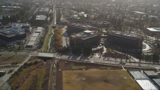 DFKSF11_014 - 5K stock footage aerial video of flying by Googleplex office buildings, Mountain View, California