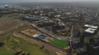 DFKSF11_016 - 5K stock footage aerial video of passing by Googleplex office buildings, Mountain View, California