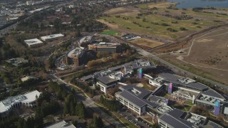 DFKSF11_017 - 5K stock footage aerial video flyby and approach Googleplex office buildings, Mountain View, California