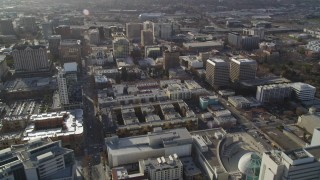 DFKSF12_003 - 5K stock footage aerial video tilt from West San Fernando Street, revealing Downtown San Jose office buildings, California