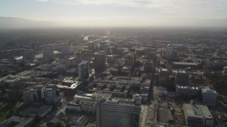 DFKSF12_007 - 5K stock footage aerial video of a wide view of Downtown San Jose, California