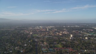 DFKSF12_019 - 5K stock footage aerial video of approaching Stanford University; Stanford, California