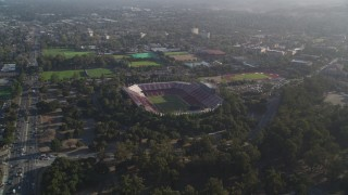 DFKSF12_021 - 5K stock footage aerial video of flying by Stanford University, revealing Stanford Stadium, Stanford, California