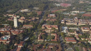 DFKSF12_022 - 5K stock footage aerial video of orbiting Stanford University, revealing Hoover Tower, Stanford, California