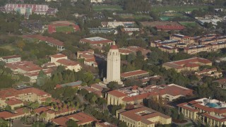 DFKSF12_026 - 5K stock footage aerial video of flying away from Hoover Tower and Stanford University, Stanford, California