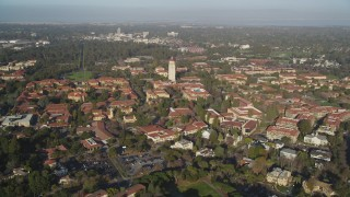 DFKSF12_028 - 5K stock footage aerial video tilt to reveal and approach Hoover Tower and Stanford University, Stanford, California