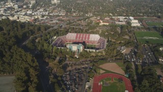 DFKSF12_029 - 5K stock footage aerial video of approaching Stanford Stadium at Stanford University in Stanford, California