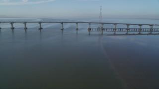 DFKSF12_033 - 5K stock footage aerial video of approaching Dumbarton Bridge spanning San Francisco Bay, California