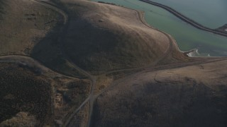 DFKSF12_034 - 5K stock footage aerial video of a reverse view of Coyote Hills Regional Park, Fremont, California