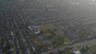 DFKSF12_040 - 5K stock footage aerial video of a reverse view of suburban homes, San Lorenzo, California