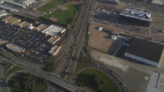 DFKSF12_041 - 5K stock footage aerial video of a reverse view of the I-880 freeway, San Leandro, California