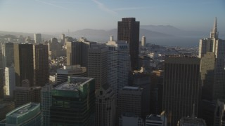 DFKSF13_019 - 5K stock footage aerial video of panning across the city's skyscrapers, Downtown San Francisco, California