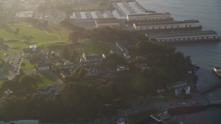 DFKSF13_032 - 5K stock footage aerial video of approaching Fort Mason piers, Russian Hill, San Francisco, California