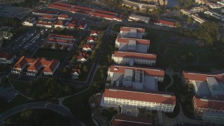 DFKSF13_037 - 5K stock footage aerial video of Lucasfilm film studio, Industrial Light and Magic, at The Presidio, San Francisco, California
