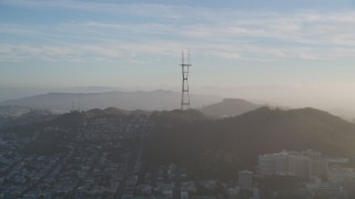 DFKSF13_042 - 5K stock footage aerial video of a view of iconic Sutro Tower, San Francisco, California