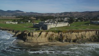 DFKSF15_075 - 5K stock footage aerial video flyby The Ritz Carlton hotel on coastal cliffs, Half Moon Bay, California