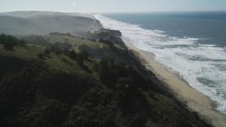 DFKSF15_087 - 5K stock footage aerial video of flying by San Gregorio State Beach, San Gregorio, California