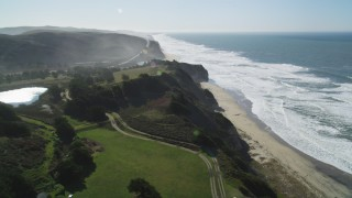 DFKSF15_088 - 5K stock footage aerial video of flying by San Gregorio State Beach, San Gregorio, California
