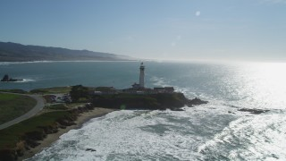 DFKSF15_096 - 5K stock footage aerial video approach Pigeon Point Light Station in Pescadero, California