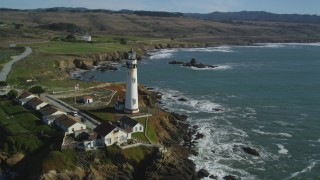 DFKSF15_097 - 5K stock footage aerial video of Pigeon Point Light Station overlooking the ocean in Pescadero, California