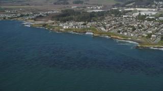 DFKSF15_120 - 5K stock footage aerial video of passing by kelp forests and coastal neighborhoods, Santa Cruz, California
