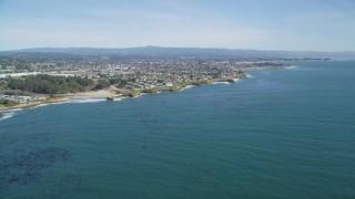 DFKSF15_125 - 5K stock footage aerial video of coastal neighborhoods in Santa Cruz, California