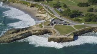 DFKSF15_128 - 5K stock footage aerial video of orbiting the Santa Cruz Surfing Museum in Santa Cruz, California