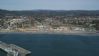 DFKSF15_129 - 5K stock footage aerial video of flying by the Santa Cruz Beach Boardwalk, Santa Cruz, California