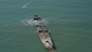 DFKSF15_143 - 5K stock footage aerial video of SS Palo Alto shipwreck in Aptos, California