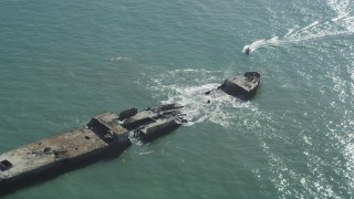 DFKSF15_144 - 5K stock footage aerial video of orbiting the SS Palo Alto shipwreck, Aptos, California