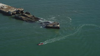 DFKSF15_145 - 5K stock footage aerial video orbit the SS Palo Alto shipwreck, and tilt to reveal Seacliff State Beach, Aptos, California
