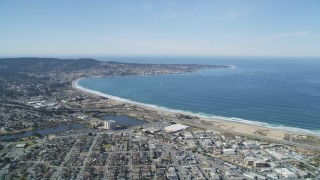 DFKSF15_153 - 5K stock footage aerial video of the Monterey Peninsula and Monterey Bay seen from a residential area, Monterey, California