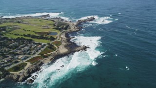 DFKSF16_011 - 5K stock footage aerial video tilt from kelp forests to reveal Point Pinos Lighthouse Reservation, Monterey, California