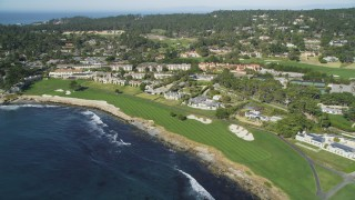 DFKSF16_028 - 5K stock footage aerial video flyby Pebble Beach Resorts hotel and Pebble Beach Golf Links, Pebble Beach, California