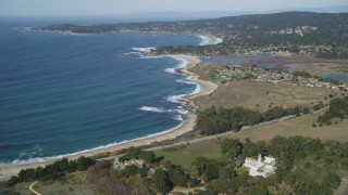 DFKSF16_042 - 5K stock footage aerial video of flying away from the beach and monastery by Carmel Bay, Carmel, California