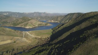 DFKSF17_001 - 5K stock footage aerial video of flying by Lopez Lake and Lopez Dam, San Luis Obispo County, California
