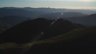 DFKSF17_017 - 5K stock footage aerial video of flying by a mountain landscape inSan Luis Obispo County, California